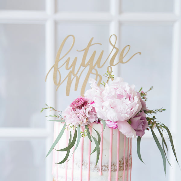 Future Mrs. Bridal Shower Wooden Cut Cake Topper - Wood or Acrylic