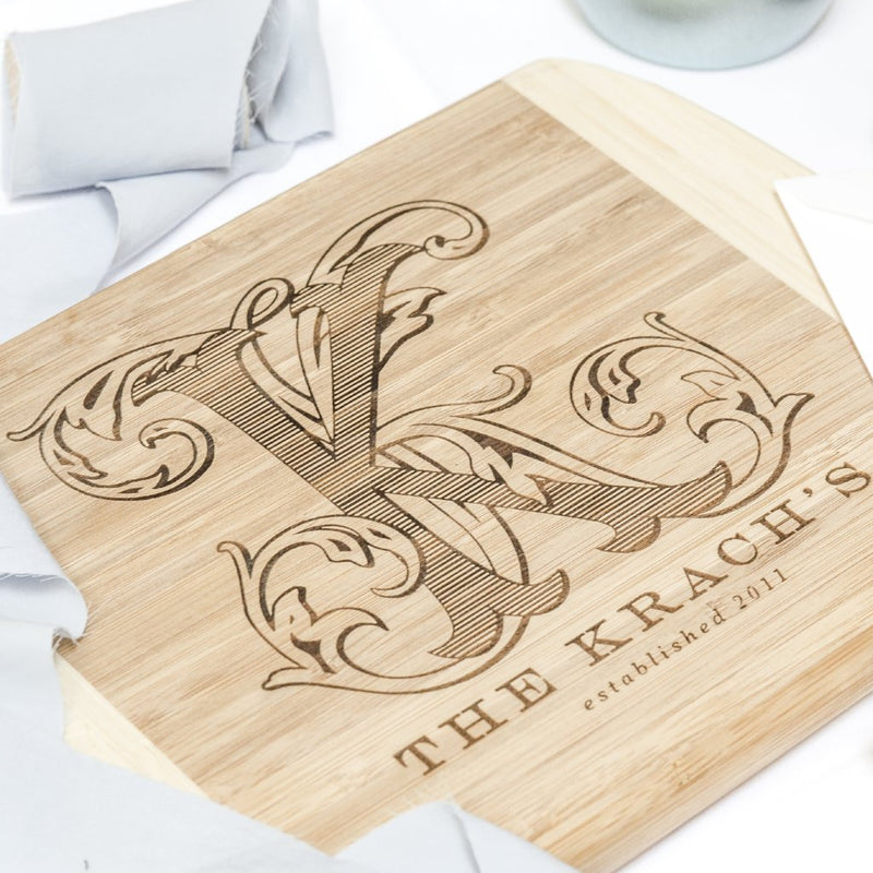 Vine Monogram Custom Bamboo Cutting Board