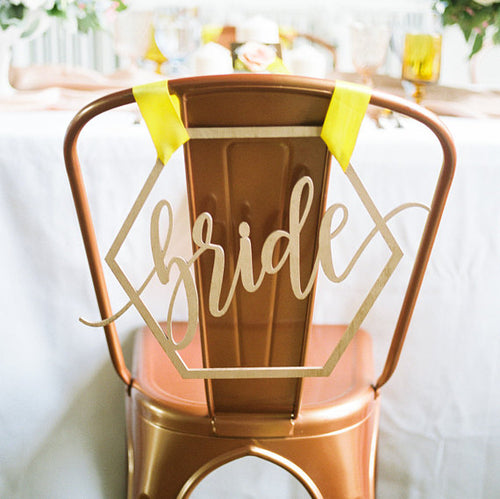 Bride & Groom Geometric Wedding Chair Signs