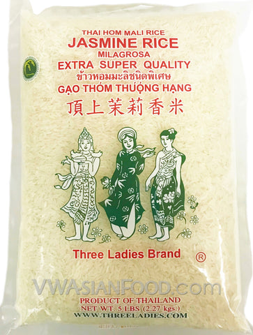 Three Ladies Jasmine Rice, 5-Pound Bag (10-Count)