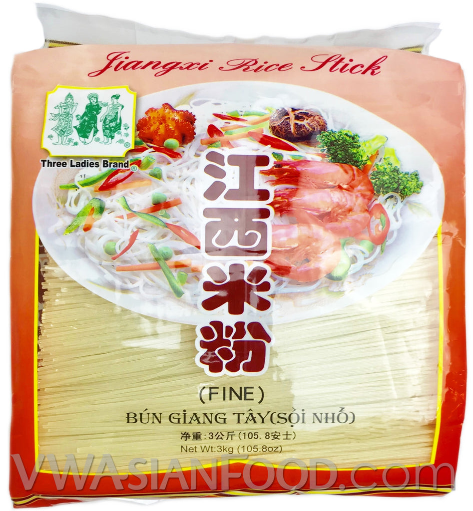 Three Ladies Jiangxi Rice Stick (Fine), 6.6-Pound Bags (8-Count)