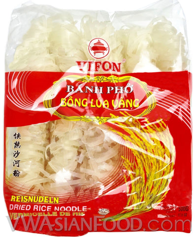 Vifon Dried Rice Noodle (Banh Pho Bong Lua Vang), 17.5 oz (24-Count)