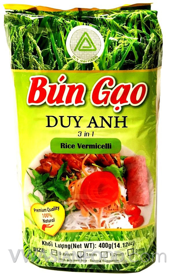 Duy Anh Bun Gao 3-in-1 Rice Vermicelli (1mm Size), 14 oz (30-Count)