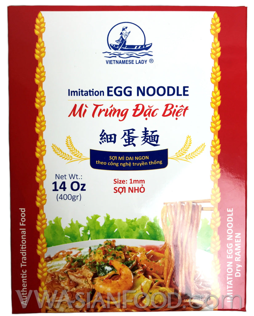 Vietnamese Lady Imitation Egg Noodle Dry Ramen Small (1mm), 14 oz (24-Count)