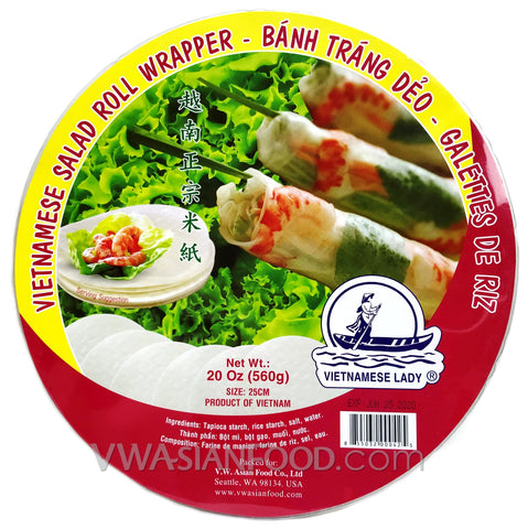 Vietnamese Lady Rice Paper (Box-25cm), 20 oz (24-Count)