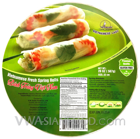 Vietnamese Lady Rice Paper (Box-22cm), 20 oz (24-Count)