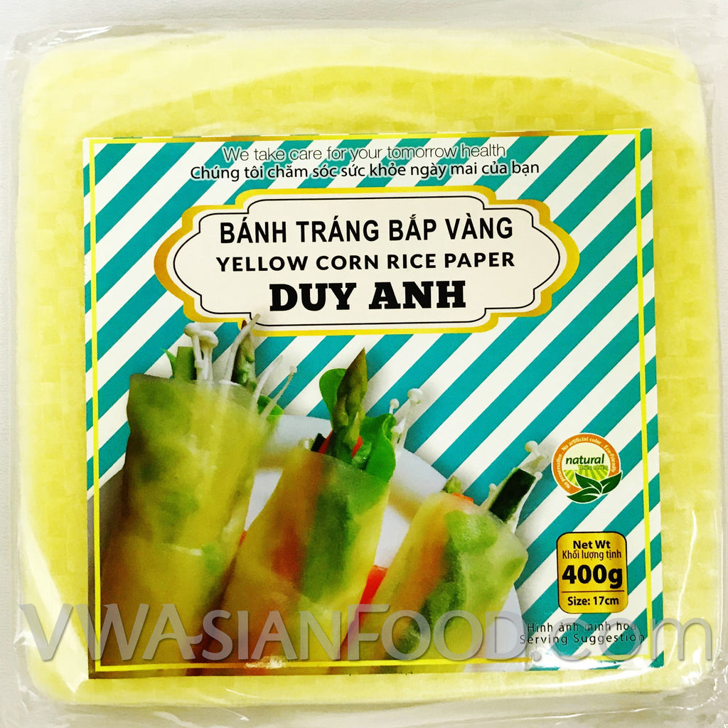 Duy Anh Yellow Corn Rice Paper Square (Bag), 14 oz (40-Count)