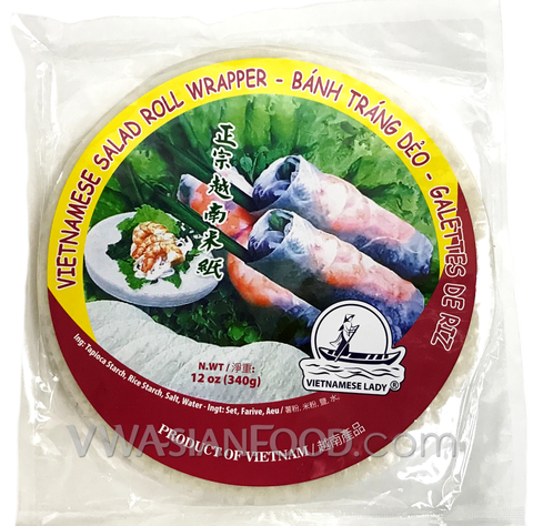 Vietnamese Lady Salad Roll Wrapper Rice Paper (Bag-22cm), 12 oz (44-Count)