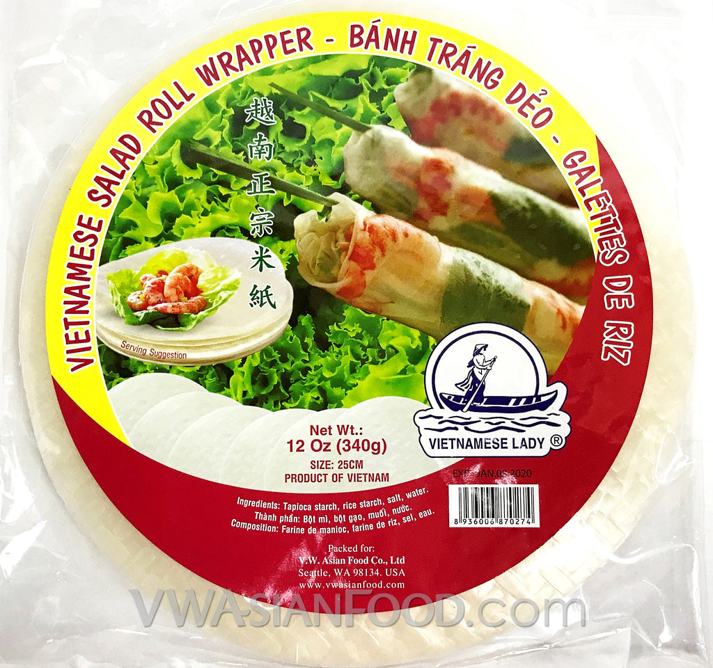Vietnamese Lady Rice Paper (Bag-25cm), 12 oz (44-Count)