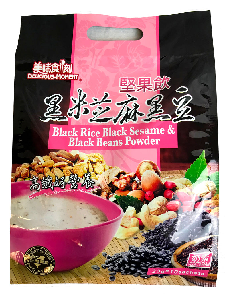 Delicious Moment Black Rice, Black Sesame, Black Beans Powder, 1.16 oz, 33g (10-Count)