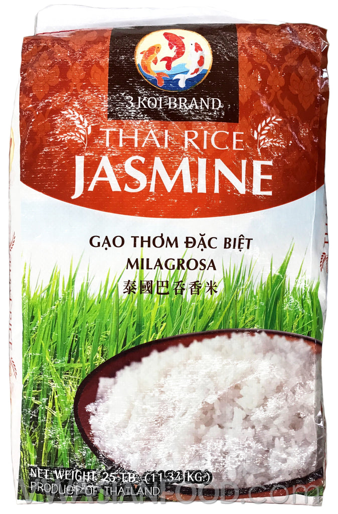 3 Koi Jasmine Rice, 25-Pound Bag