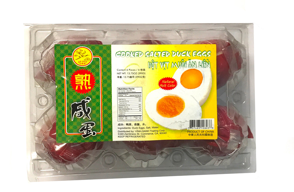 Asuka Cooked Salted Duck Eggs, 13.75 oz, 6 Pieces (24-Count)