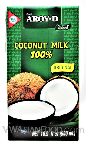 Aroy-D 100% Coconut Milk Box, 16.9 oz (24-Count)