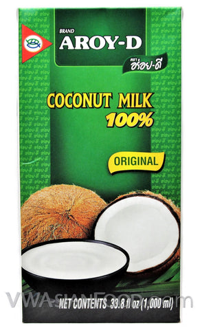 Aroy-D 100% Coconut Milk Box Large, 33.8 oz (12-Count)