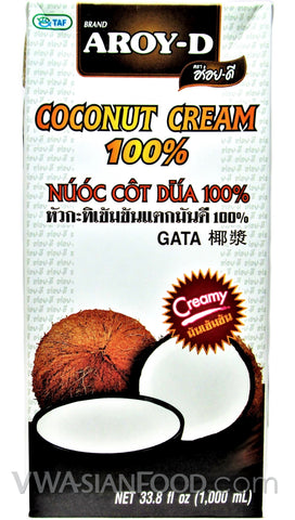Aroy-D 100% Coconut Cream Box, 33.8 oz (12-Count)