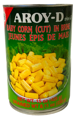 Aroy-D Baby Corn in Brine (Cut), 15 oz (24-Count)