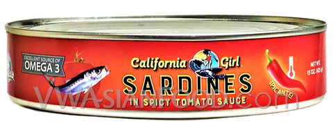 California Girl Sardines in Tomato Sauce with Chili, 15 oz (24-Count)