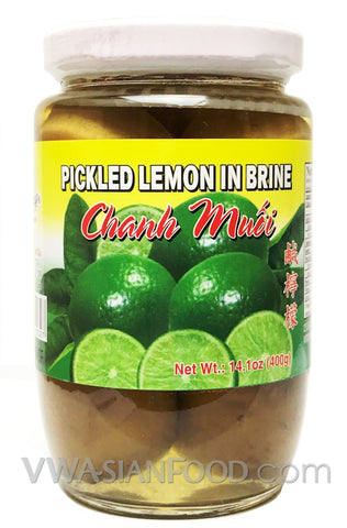 Vietnamese Lady Pickled Lemon in Brine (Chanh Muối), 14 oz (24-Count)