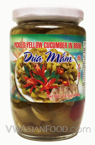 Vietnamese Lady Pickled Yellow Cucumber in Brine (Dưa Mắm), 14 oz (24-Count)
