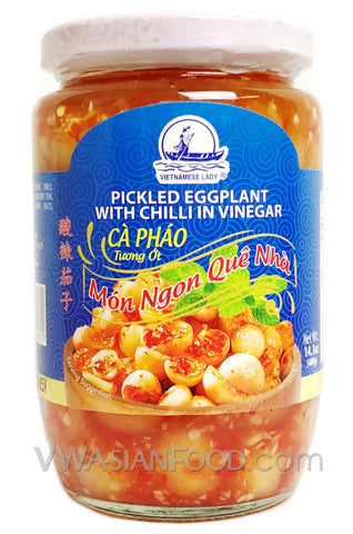 Vietnamese Lady Pickled Eggplant with Chili, 14.1 oz (24-Count)