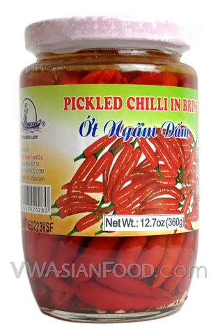 Vietnamese Lady Pickled Chili in Brine, 12 oz (24-Count)