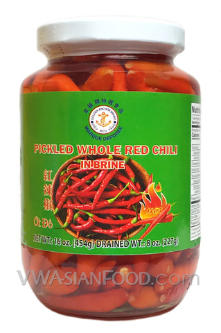 Golden Anchor Pickled Whole Red Chili, 16 oz (24-Count)