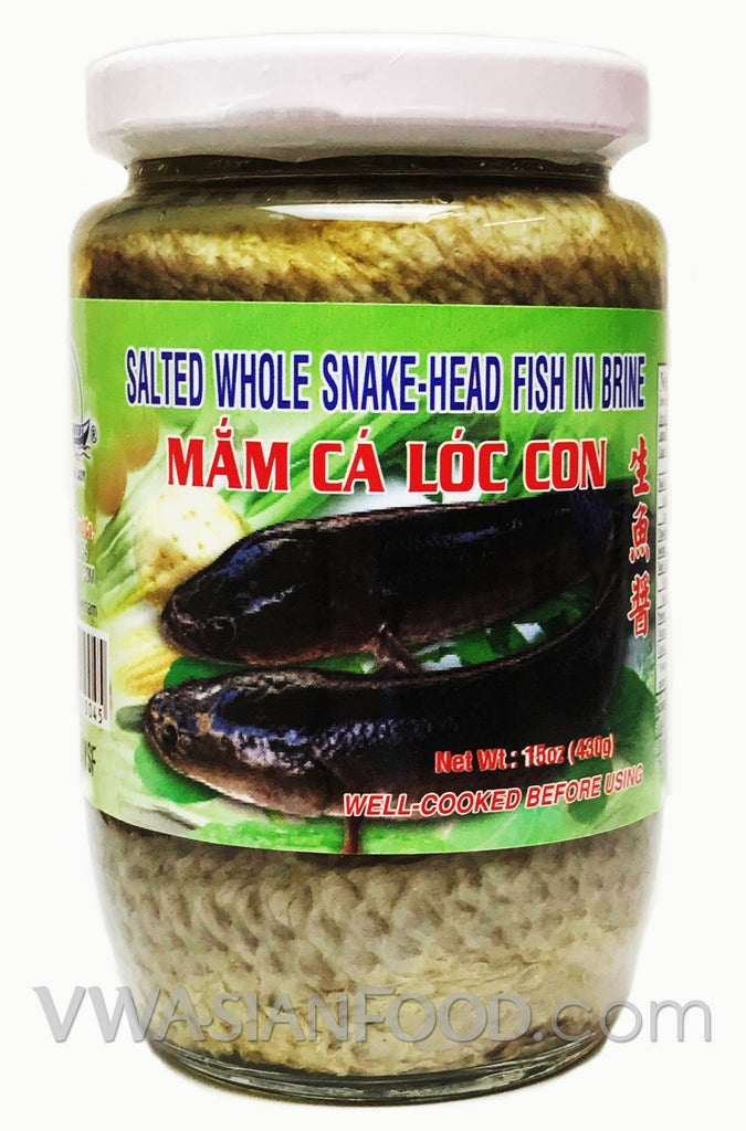 Vietnamese Lady Salted Whole Snake-Head Fish in Brine (Mắm Cá Lóc Con), 15 oz (24-Count)