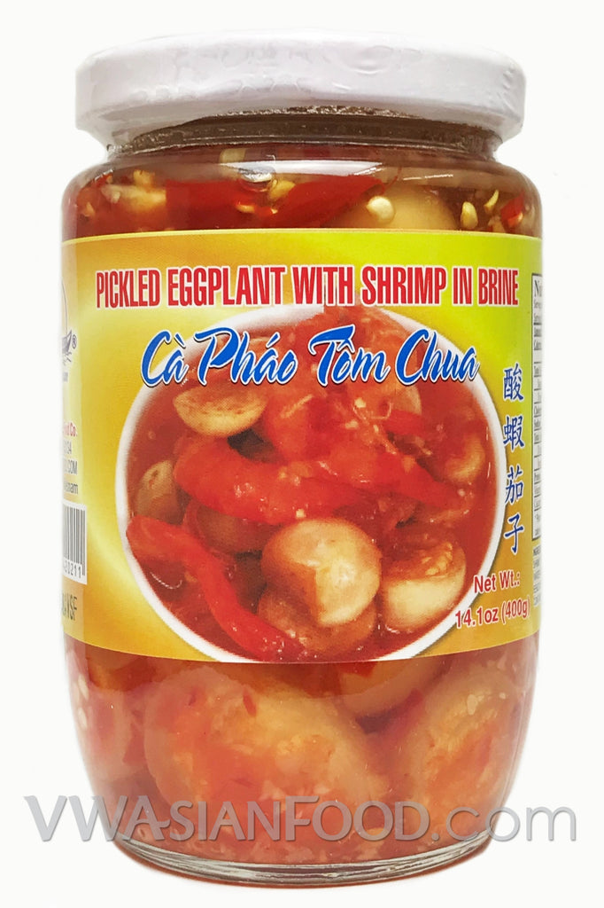 Vietnamese Lady Pickled Eggplant with Shrimp in Brine, 14 oz (24-Count)