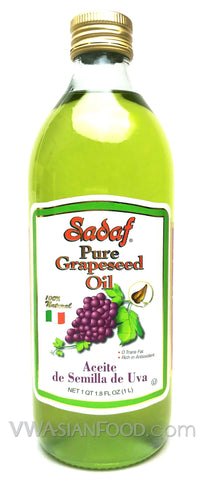 Sadaf Pure Grapeseed Oil (1-Liter, 34 oz), 12-Count