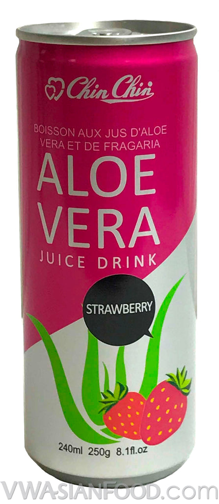 Chin Chin Aloe Vera Juice Drink Strawberry, 8 oz (24-Count)