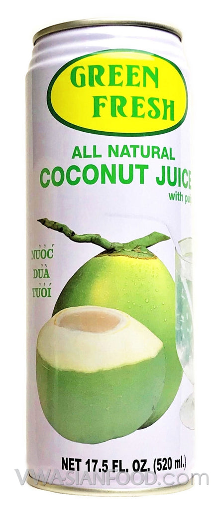 Green Fresh Coconut Juice with Pulp Drink, 17 5 oz (24-Count