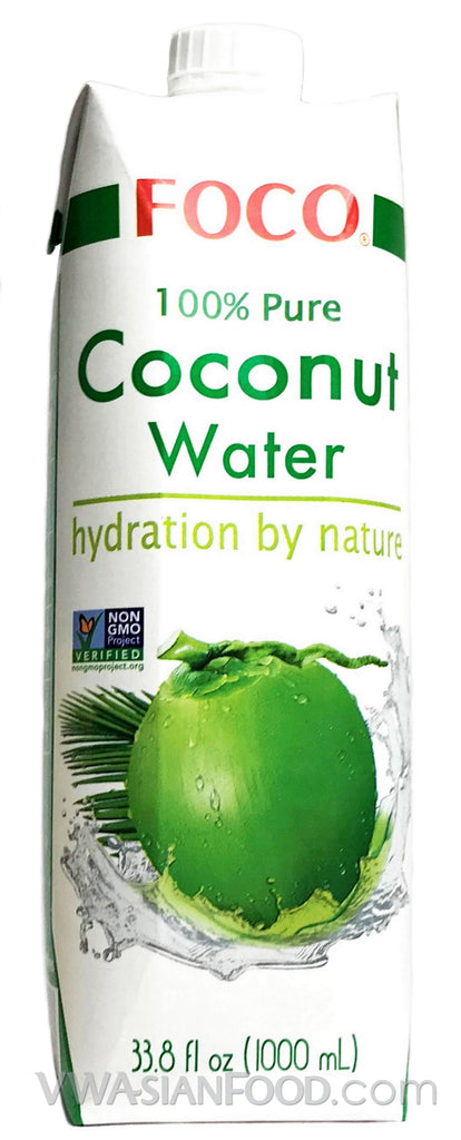 FOCO 100% Pure Coconut Water, 33.8 oz (12-Count)