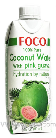 FOCO 100% Pure Coconut Water with Pink Guava, 11.2 oz (12-Count)