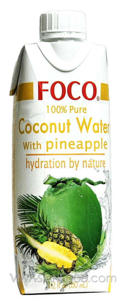FOCO 100% Pure Coconut Water with Pineapple, 11.2 oz (12-Count)