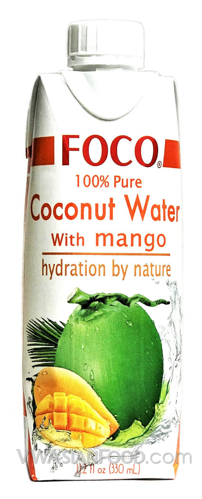 FOCO 100% Pure Coconut Water with Mango, 11.2 oz (12-Count)