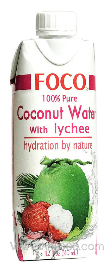 FOCO 100% Pure Coconut Water with Lychee, 11.2 oz (12-Count)