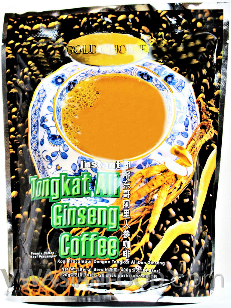 Gold Choice Instant Tongkat Ali Ginseng Coffee, 0.7 oz (24-Count)