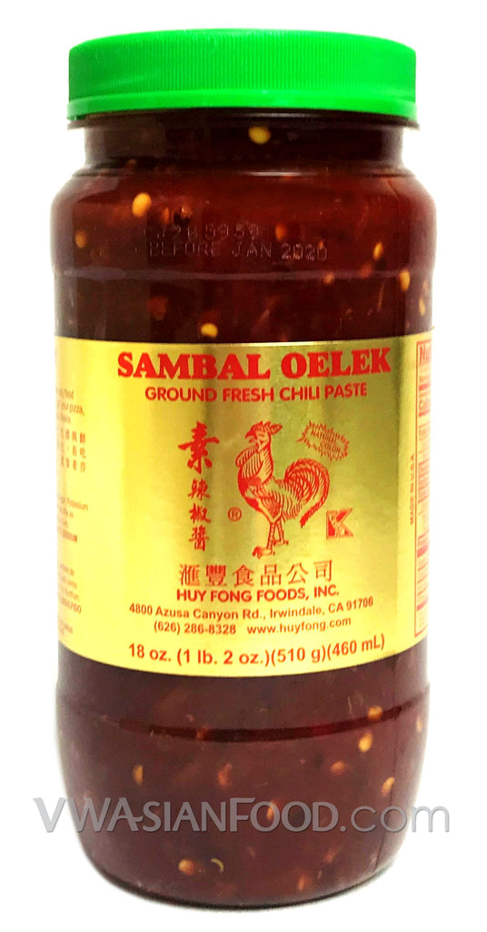 Huy Fong Sambal Oelek Ground Fresh Chili Paste, 18 oz (12-Count)