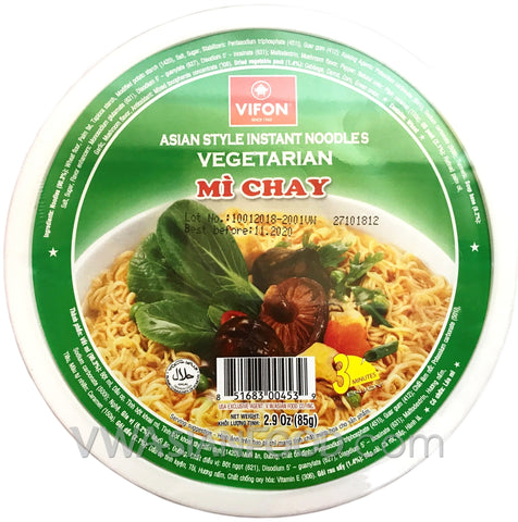 Vifon Vegetarian Noodles Bowl (Mi Chay) 2.9 oz, 12-Bowls (3-Packs)
