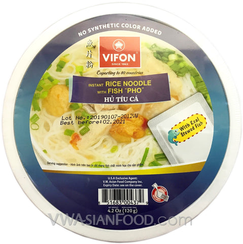 Vifon Stewed Fish instant Rice Noodles Bowl (Hu Tiu Ca) 2.9 oz, 12-Bowls (3-Packs)