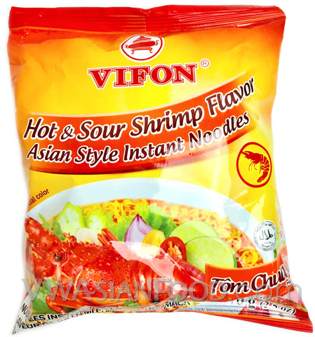 Vifon Hot & Sour Shrimp Instant Noodles (Tom Chua Cay) 2.5 oz, 30-Bags (3-Packs)