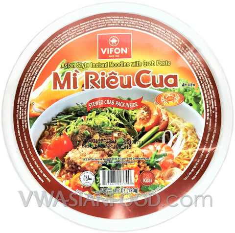 Vifon Crab Paste Instant Noodles Bowl (Mi Rieu Cua), 4.2 oz (36-Count)