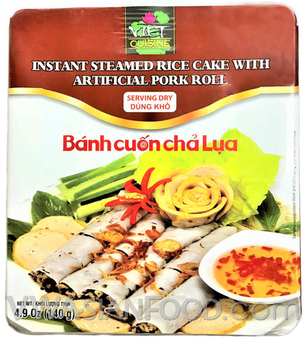 Viet Cuisine Asian Style Instant Dry Steamed Rice Cake with Artificial Pork Roll 4.9 oz, 12-Bowls (3-Packs)