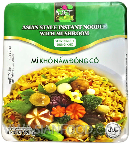 Viet Cuisine Asian Style Instant Dry Noodle with Mushroom 4.23 oz, 12-Bowls (3-Packs)