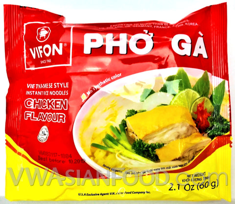 Vifon Chicken Flavor Instant Rice Noodles (Pho Ga) 2.1 oz, 24-Bags (3-Packs)
