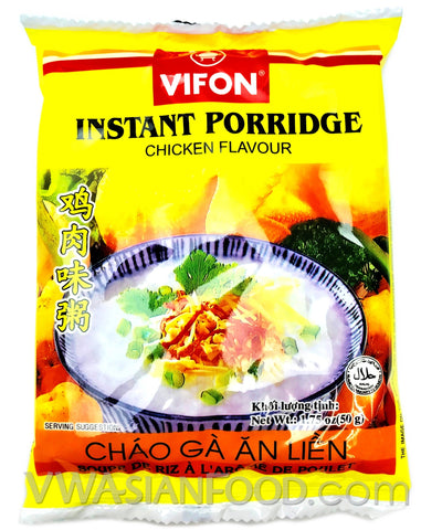 Vifon Chicken Instant Porridge (Chao Ga) 1.75 oz, 50-Bags (3-Packs)