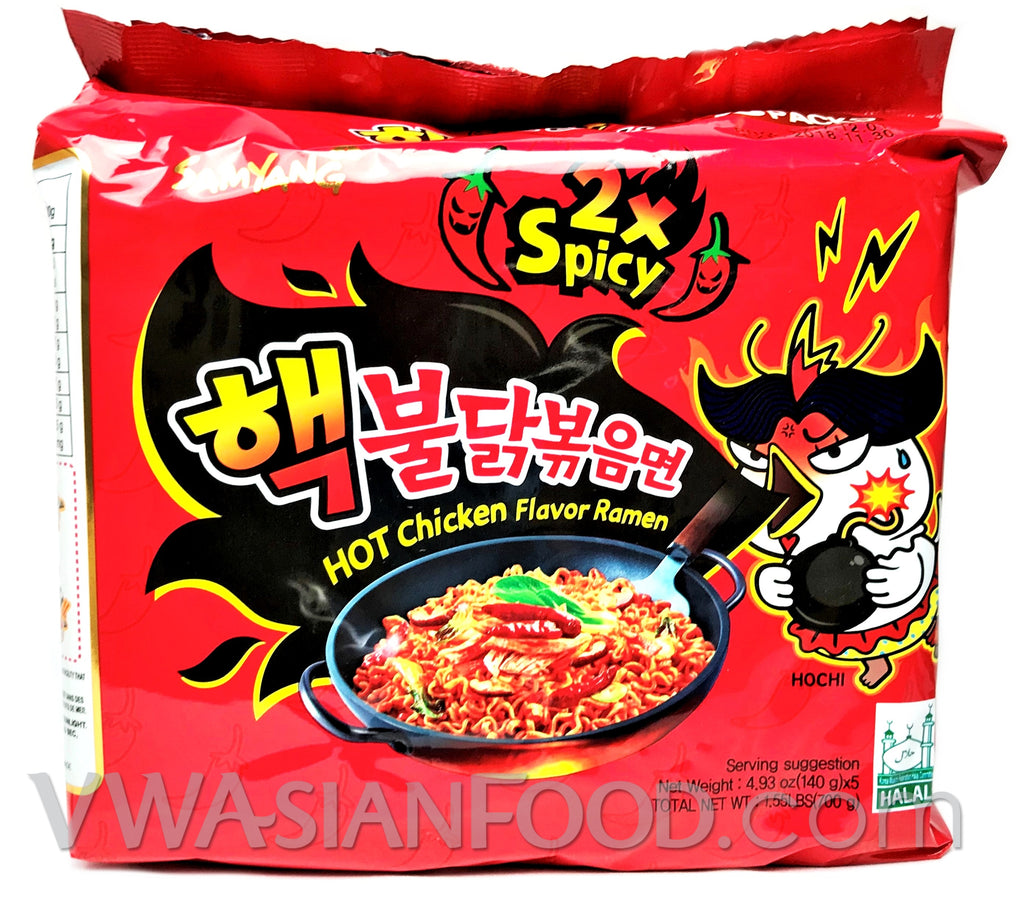 Samyang 2X Spicy Chicken Ramen, 5oz, 5-bags (16-Count)