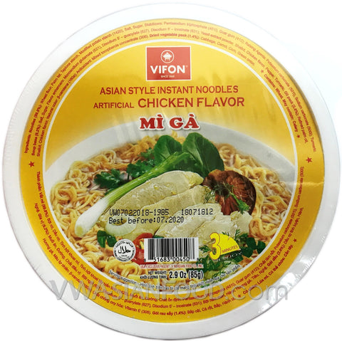 Vifon Chicken Noodles Bowl (Mi Ga) 2.9 oz, 12-Bowls (3-Packs)