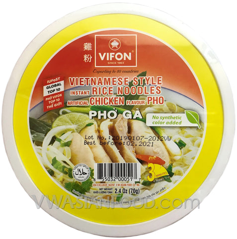 Vifon Chicken Flavor Instant Rice Noodles Bowl (Pho Ga) 2.4 oz, 12-Bowls (3-Packs)