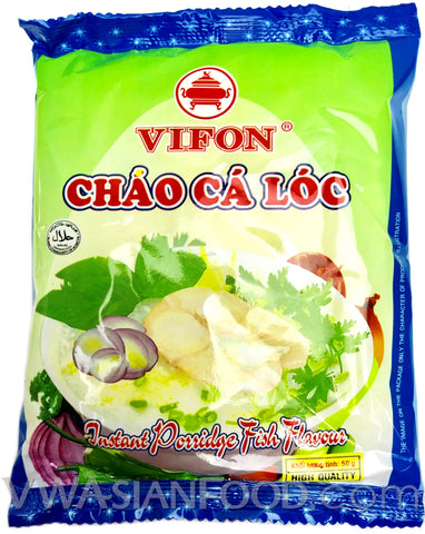 Vifon Fish Instant Porridge Bag (Chao Ca Loc) 1.75 oz, 50-Bags (3-Count)